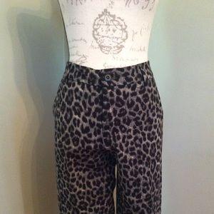 NWOT CAbi leopard print pants sz 8 $44